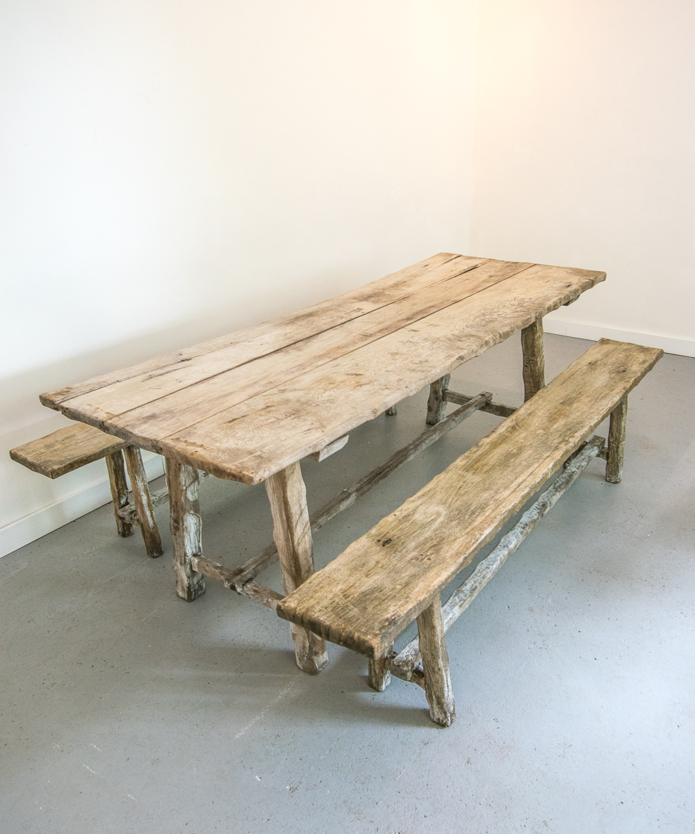 Antique oak table bench set vintage france design limited antique oak table bench set watchthetrailerfo
