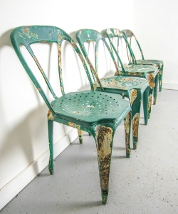 Green metal cafe chairs-1