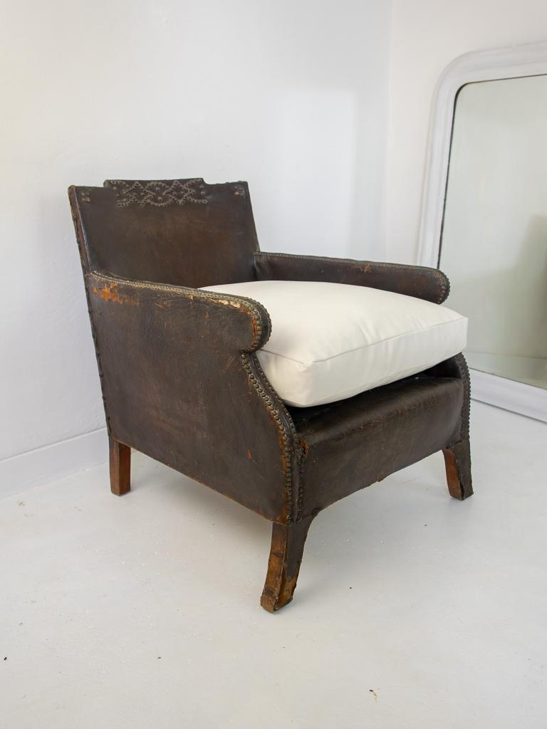 Studded Leather Armchair Vintage France Design Limited