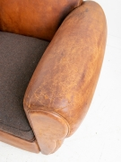French leather club chair, antique french chair, brown leather chair, distressed leather, moustache