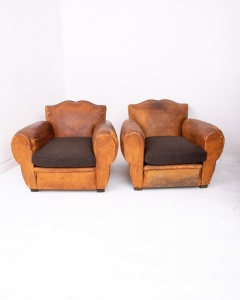 Pair of French Club Armchairs Moustache-5