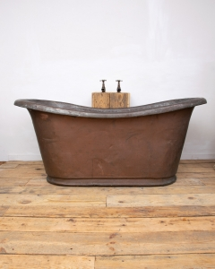 Antique French Rolltop Copper Bateau Bath