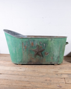 19th century zinc bathtub green painted