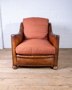 Antique Leather French Club Armchair-2