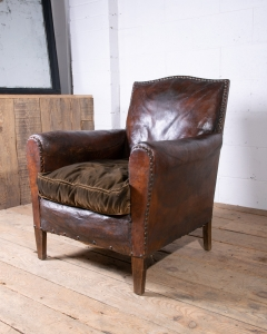 Art Deco Leather French Club Armchair-4