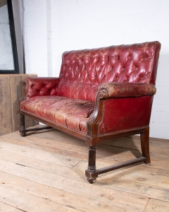 Leather Club Sofa Red-5