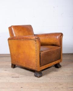 Art Deco Leather Club Chair-4
